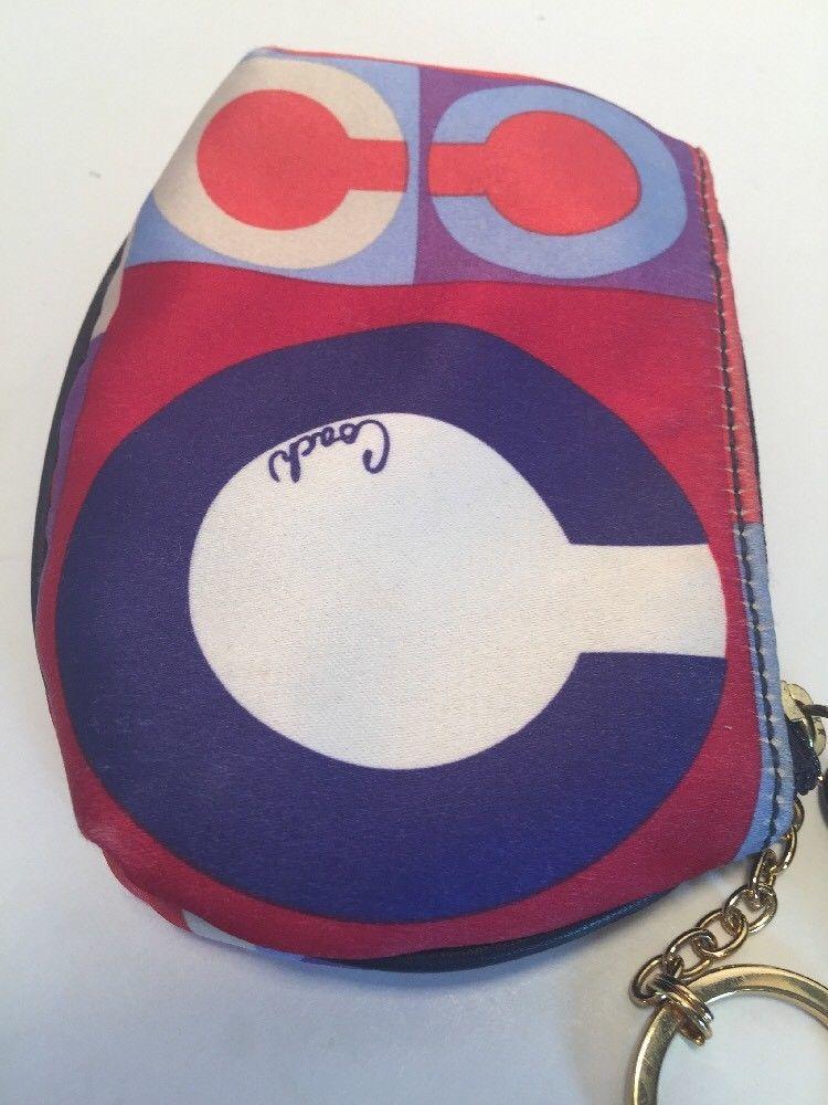 Coach Resort Op Art Coin Purse Wallet Keychain  Zip Satin Blue Red  42165 W8