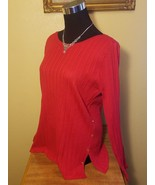 Croft & Barrow  Red w Gold Knit Split Hem Sweater - Large L - $19.97