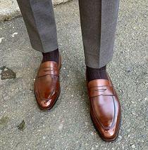 Men's loafers, Handmade brown color leather loafers, Tassel loafer for men - $144.99+