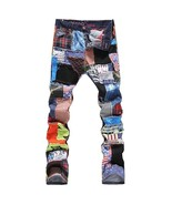 Men's Personality Patchwork Spliced Ripped Denim Jeans Male Fashion Slim... - $59.90