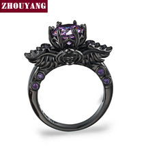 Purple Crystal Personality Skeleton Black Gold Color Cocktail Party Rings For - $17.92