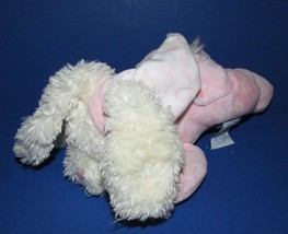 baby Gund paisley collection Plush pink bunny rabbit soft rattle lying down - $8.90
