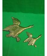 Vintage Pair Brass Geese ~ Ducks Hanging Wall Decor ~ Korea ~ - $18.76