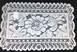 New White Lace Placemats Floral Scalloped Rectangular 11.5 x18 Set of 12... - $22.71