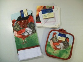 NEW HOME COLLECTION 5 PC KITCHEN SET ROOSTER CHICKEN POT HOLDERS TOWEL D... - $16.61