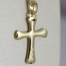 CROSS PENDANT YELLOW GOLD WHITE 750 18K, SATIN AND LUCIDA, ROUNDED SHAPE, ITALY image 3