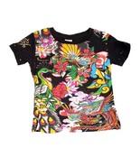 Super Cute Ed Hardy Girls Black Tee Shirt w/Birds Flowers Motif, Short S... - $23.99