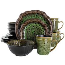 Elama Jade Waves 16 Piece Stoneware Dinnerware Set in Green - $80.35