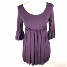 Max Studio Purple Top Sz Small Women's Knit 3/4 Sleeve Stretch Shirt - $14.84