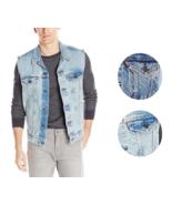 New Levi's Strauss Men's Premium Cotton Button Up Denim Jeans Trucker Vest - $56.95