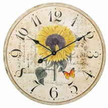 "Wall Clock 24"" Sunflower Floral Summer Vintage Shabby Chic Farmhouse Round - $125.00"