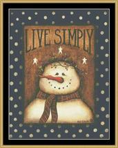 Live Simply snowman holiday winter christmas cross stitch chart Mystic Stitch - $14.40