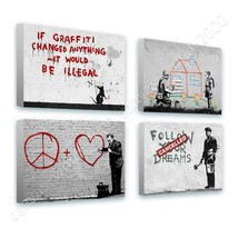 CANVAS (Rolled) Dreams Doctor House Graffiti Heart House Banksy Set Of 4 - $27.57+