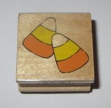 Candy Corn Rubber Stamp Halloween Sweets Wood Mounted Westwater Enterprises - $3.95