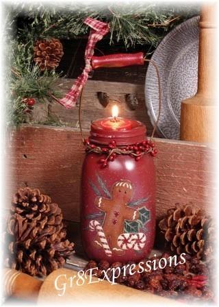 Gingerbread man votive jar