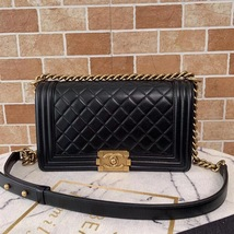 AUTHENTIC CHANEL BLACK QUILTED LAMBSKIN MEDIUM BOY FLAP BAG GHW image 1