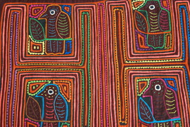 Kuna Abstract Traditional Mola Hand stitched Art Applique Minute Bird Ma... - $56.99