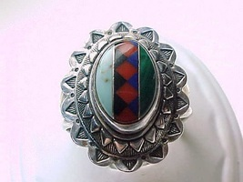 Genuine INLAID STERLING RING-Turquoise, Lapis, Malachite, Coral, Black O... - $95.00