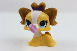 Littlest Pet Shop Yellow, Brown, White Maltese Dog with Pink Spinning Candy - $6.43
