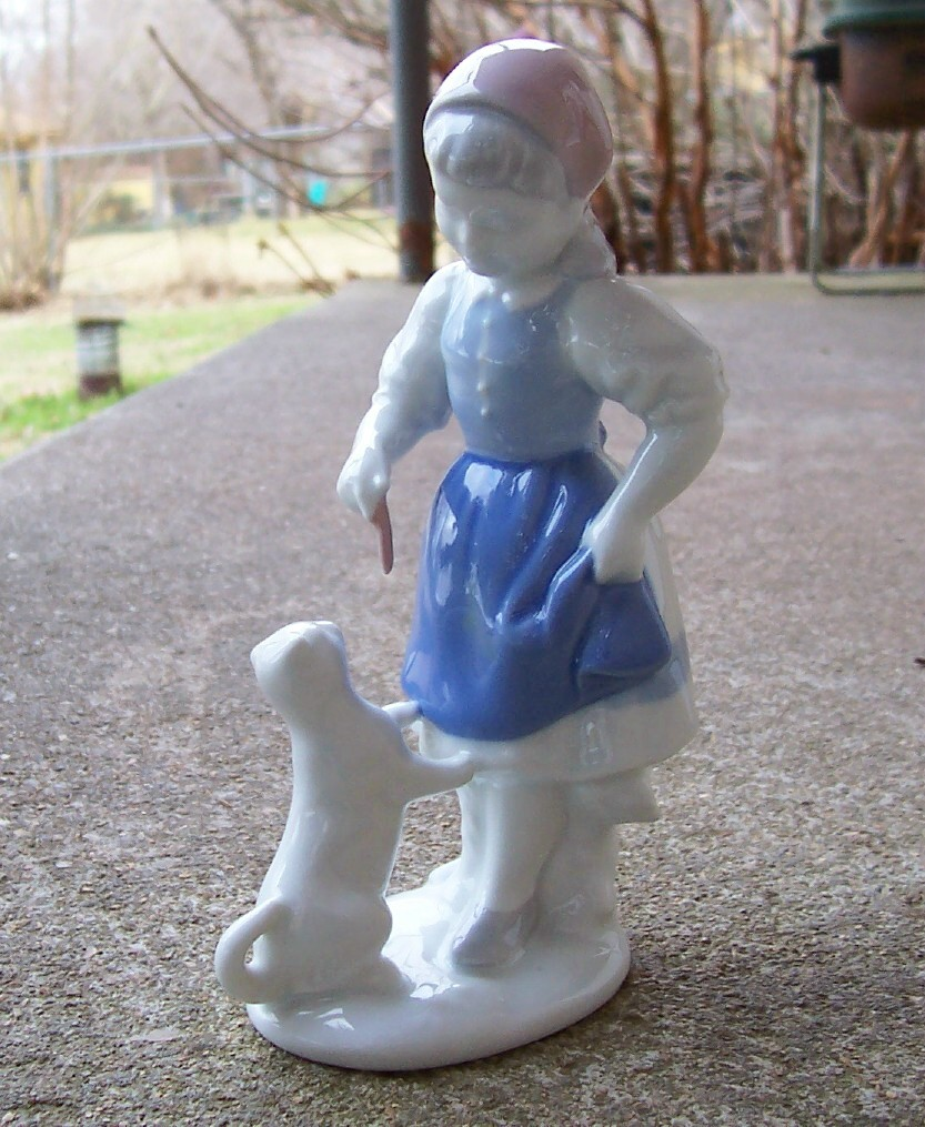 Gerold Porcelain Girl Feeds Kitty Figurine West Germany