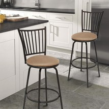 Adeco Metal Bar Stools with Vetical Slat Back & Beige Seat (Single) - £52.99 GBP