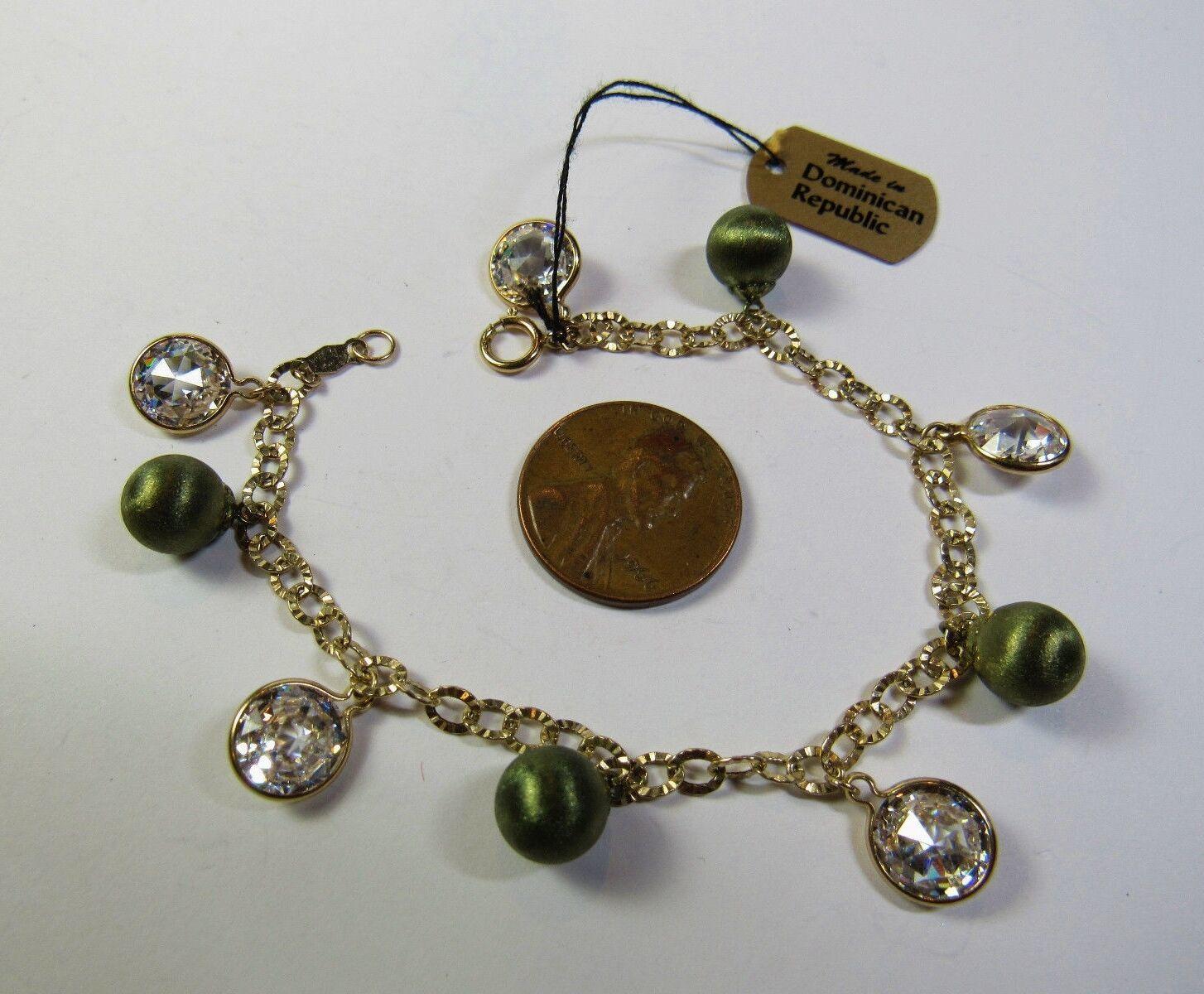 "QVC JCM Jacmel 14K GREEN YELLOW Gold Cubic Zirconia CZ Smaller 6.5"" Bracelet image 2"