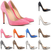 Women's 11cm High Heels Office Work Party Zebra Lopard Snakeskin PU Pump... - $38.50
