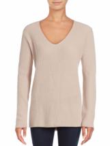 $385+ VINCE Ribbed V-Neck  SOFT Cashmere Sweater New buff Beige, sz L fi... - $2.496,14 MXN