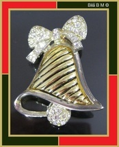 Two-Tone HOLIDAY BELL with White Rhinestones BROOCH Pin - $26.42 CAD