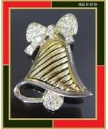 Two-Tone HOLIDAY BELL with White Rhinestones BROOCH Pin - $20.00