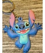 Disney Parks Exclusive Stitch Happy Face Key Chain Ring Blue Rubber 3d D... - $29.65