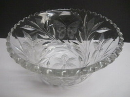 Butterfly American Brilliant Period hand Cut Glass bowl ABP antique Pair... - $148.67