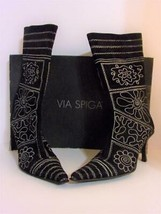 VIA SPIGA~Embroidered Black Suede High Heel Boots~TRIBAL FLORAL~SIZE 8 1... - $58.88