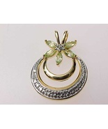 Genuine PERIDOT and DIAMOND Accent PENDANT in Gold over Sterling Silver - $40.00