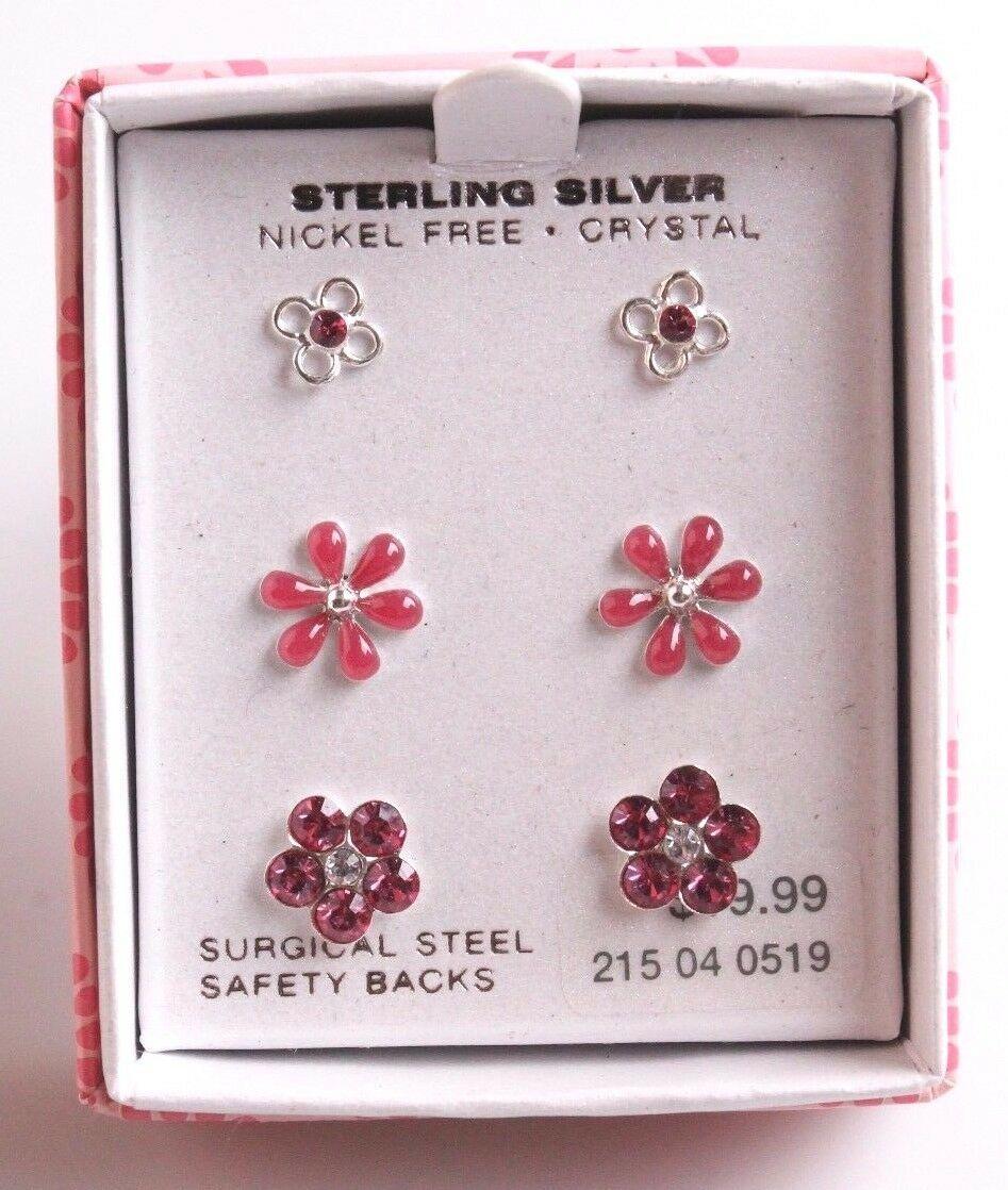 3 Pares de Chica Plata Ley 925 Rosa Cristal Transparente Flor Poste Pendientes