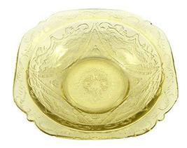 Antique Depression Glass Yellow Madrid Fruit Dessert Bowl 1930s - $27.23