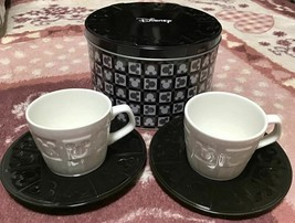 Disney Mickey Mouse Icon Pair Cup Set Black & White Cafe Cup Japan - $58.41