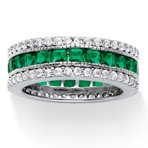 10.83 TCW Simulated Emerald Ring Platinum over .925 Silver - $31.62