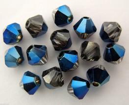 8 4  mm Swarovski 5301 Crystal Bicones -- Metallic Blue - $1.22