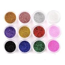 Nail Art Glitter Pots Makeup Decoration Powder Set 12 Mix Colors