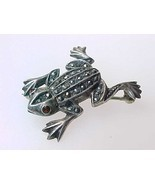 Genuine MARCASITES in STERLING SILVER FROG with GARNET Eyes BROOCH Pin - $55.00