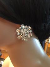Fab Big Vintage 1950's Silver Tone Rhinestone Clip On Tiered Snowflake Earrings - $31.92