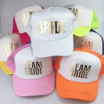 C&Fung® BRIDE TEAM BRIDE Bachelorette Hen Hats White Neon Gold Glitter P... - $9.04