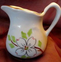 DOGWOOD Toothpick holder Pitcher Sterling China porcelain Hand painted g... - $11.87