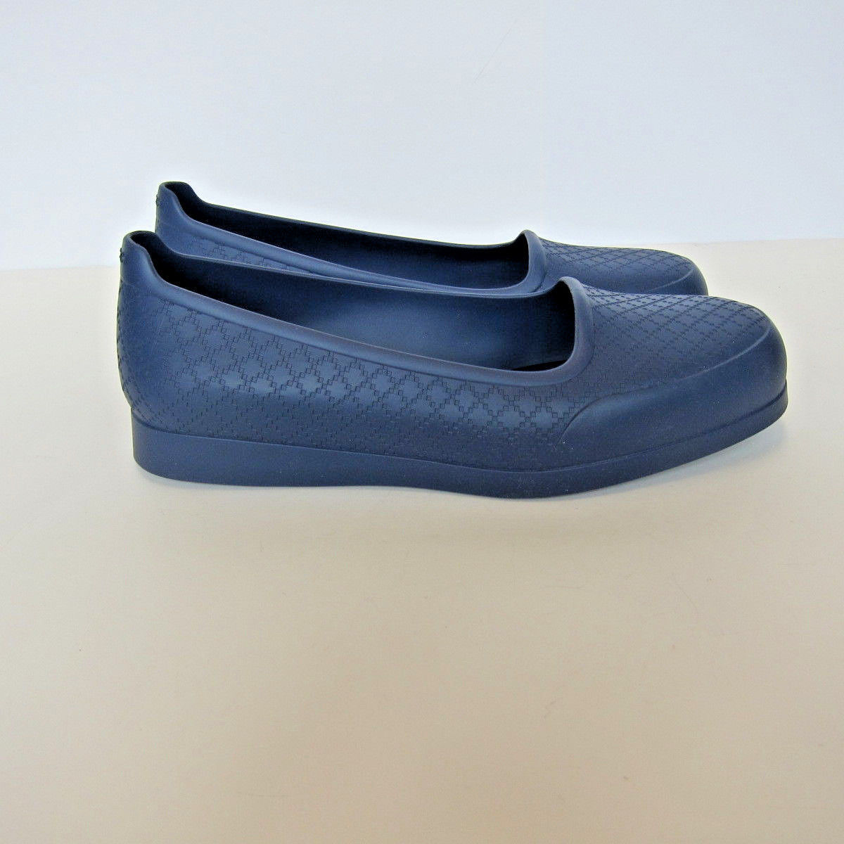 496038b6c56 L-3889940 New Gucci Diamante Royal Blue Rubber Overshoes Shoes US-8 Marked-