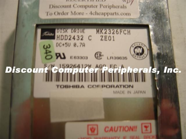"340MB 2.5"" IDE Toshiba MK2326FCH HDD2432 Tested Free USA Ship Our Drives Work"