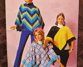 Vintage Crochet And Knitting Patterns Ladies Retro Ponchos  - $6.95