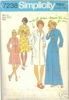1970s Bathrobe Robe Simplicity 7238 Bust 32 Lounge Vintage Sewing Pattern Simplicity