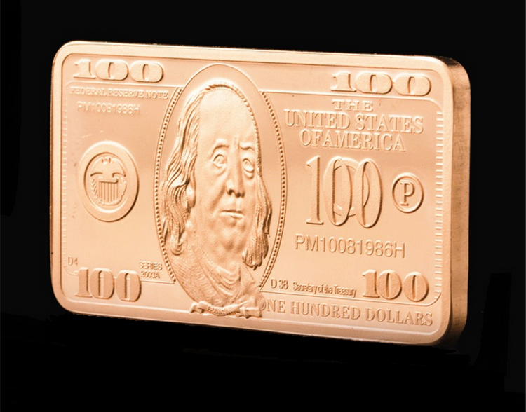 United States of America $100 Bill Franklin Copper Plated Bar - $24.74