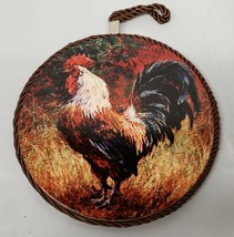 """1 WALL DECOR ROUND PLAQUE w/cork back, 7 """", ROOSTER # 7 - $10.88"""